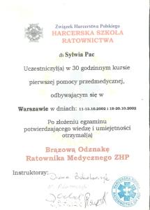 2002 Kurs Pierwszej Pomocy Przedmedycznej BORM ZHP
