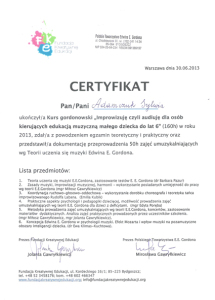 2013 Kurs Gordonowski